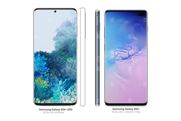 So sánh kích thước màn hình Galaxy S20 và S10 (1)