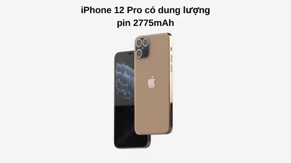 Dung lượng pin iPhone 12 Pro là 2775mAh